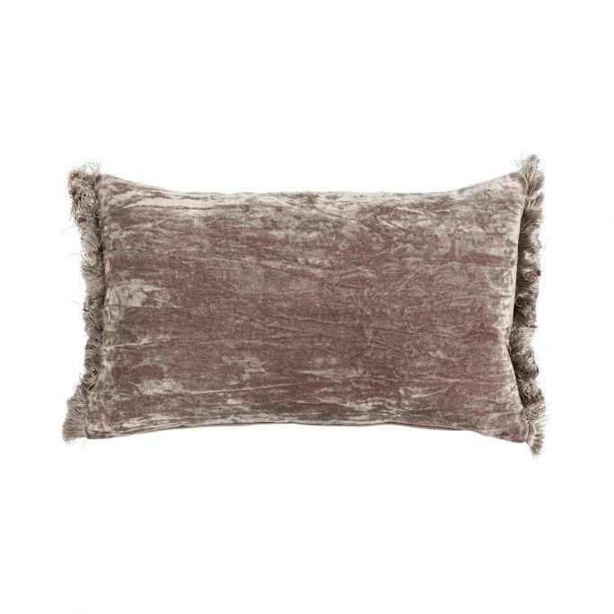 Kussen Crushed velvet fringes grey