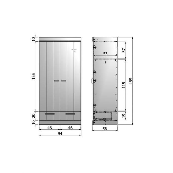 Kast Connect 2 deurs met lade wit