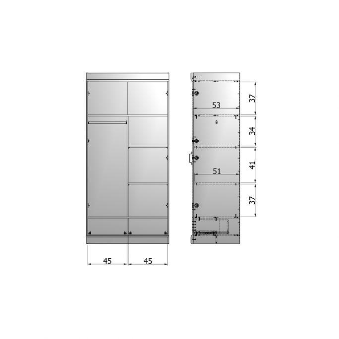 Interieurpakket kast Connect tbv 2 deurs met lade
