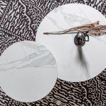 Bijzettafel Vida met wit marmeren look blad Ø60