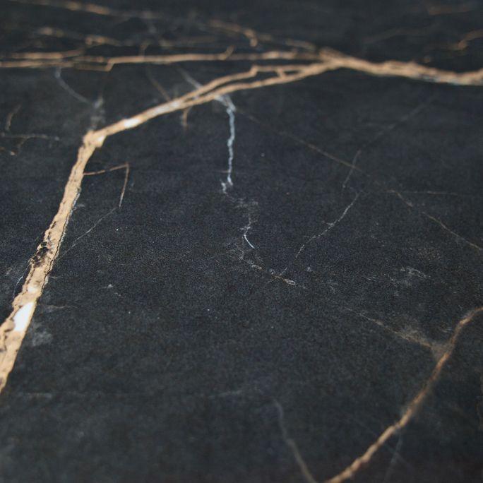 Bijzettafel Vida met zwart marmeren look blad Ø60