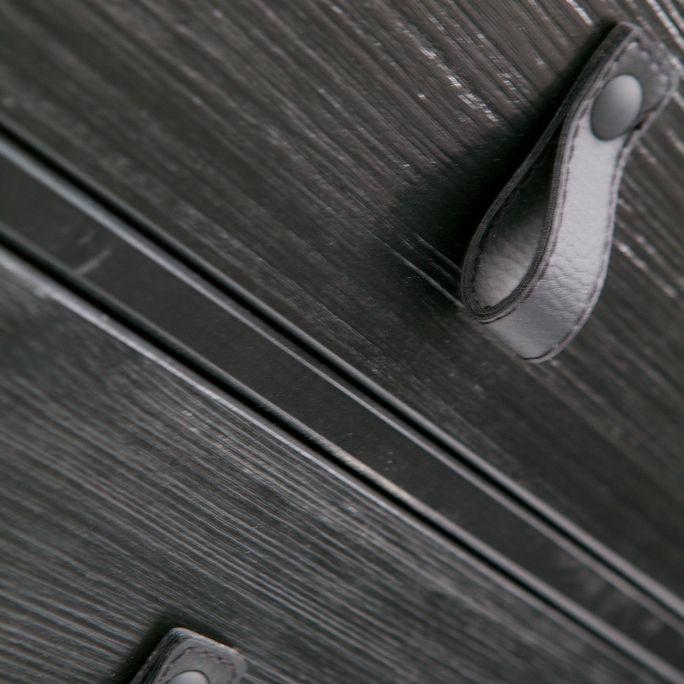 Nachtkastje Zola met lade en deur geborsteld diep zwart