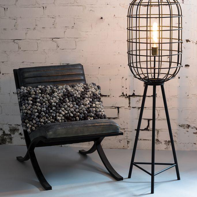 Vloerlamp Toah 35,5x125cm mat zwart-antiek brons