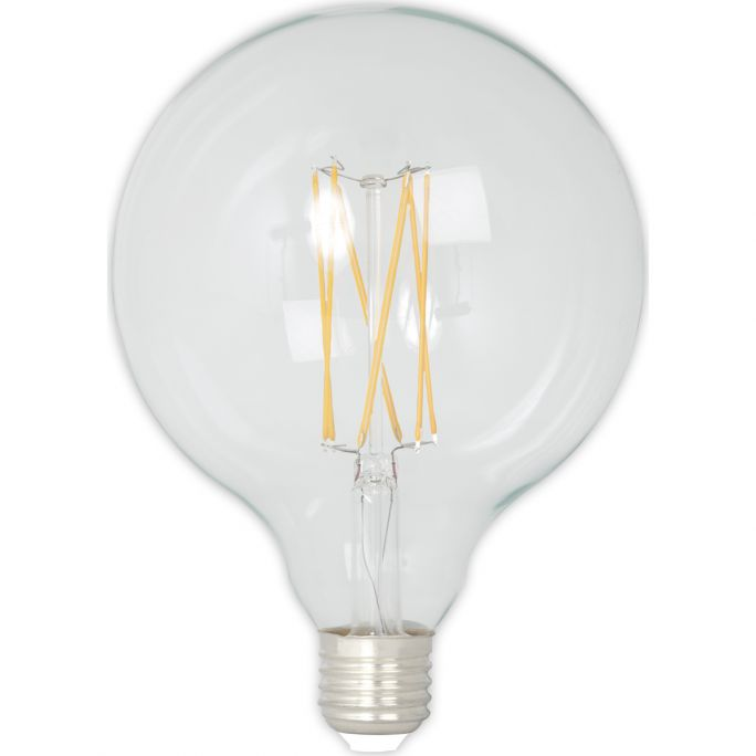 Calex LED Full Glass LongFilament Globe Lamp 240V 4W 350lm E27 GLB125, Clear 2300K Dimmable, energy label A+