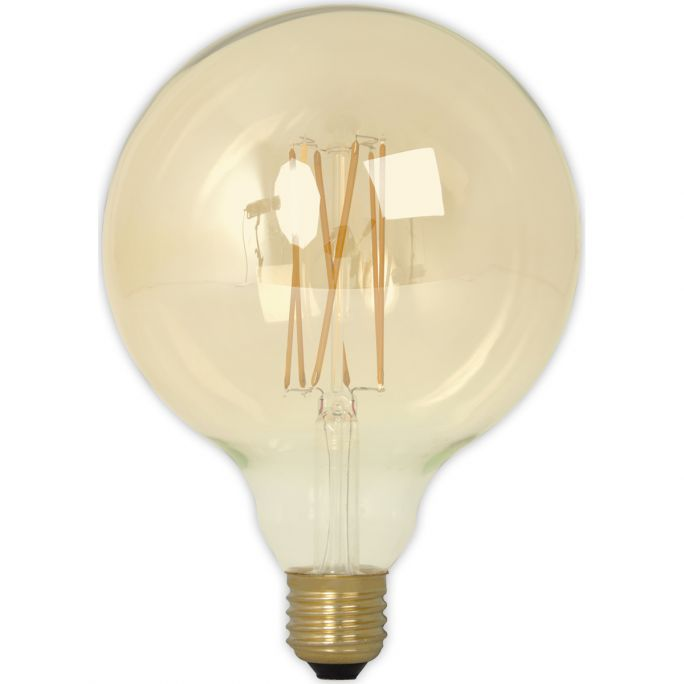 Calex LED Full Glass LongFilament Globe Lamp 240V 4W 320lm E27 GLB125, Gold 2100K Dimmable, energy label A+