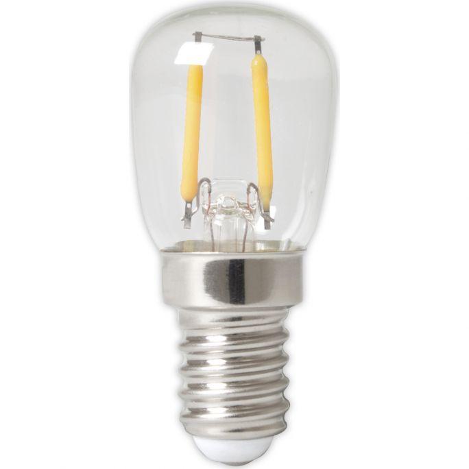 Calex LED Full Glass Filament Pilot lamp 240V 1W 100lm E14 T26x58, Clear 2700K CRI80, energy label A++