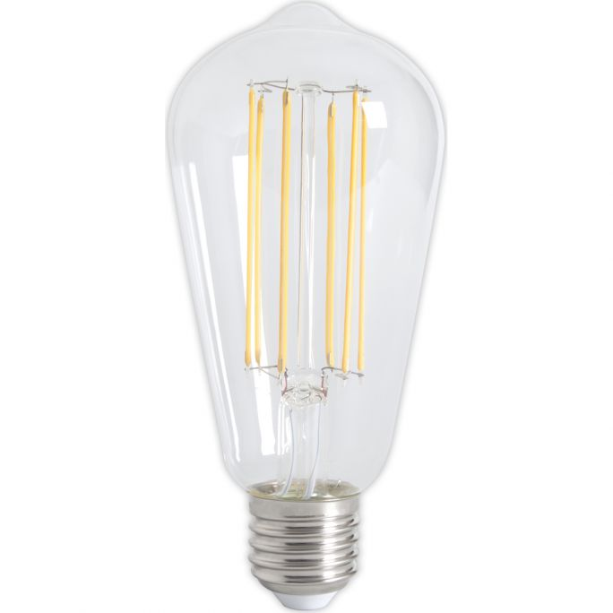 Calex LED Full Glass LongFilament Rustik Lamp 240V 4W 350lm E27 ST64, Clear 2300K Dimmable, energy label A+