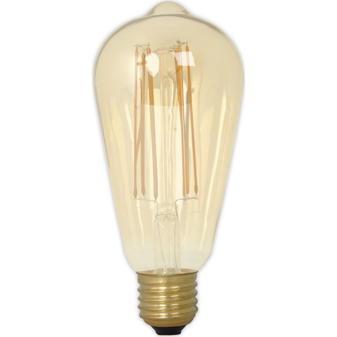 Calex LED Full Glass LongFilament Rustik Lamp 240V 4W 320lm E27 ST64, Gold 2100K Dimmable, energy label A+