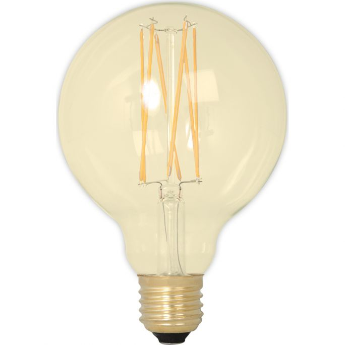 Calex LED Full Glass LongFilament Globe Lamp 240V 4W 320lm E27 GLB95, Gold 2100K Dimmable, energy label A+