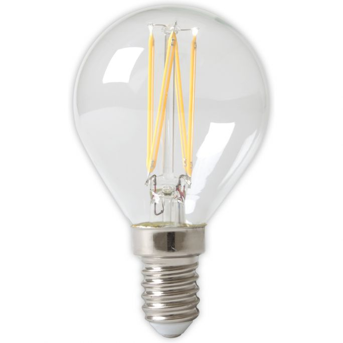 Calex LED Full Glass Filament Ball-lamp 240V 3,5W 350lm E14 P45, Clear 2700K CRI80 Dimmable, energy label A++