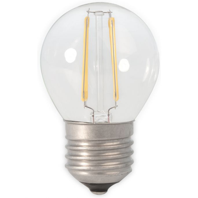 Calex LED Full Glass Filament Ball-lamp 240V 3,5W 350lm E27 P45, Clear 2700K CRI80 Dimmable, energy label A++