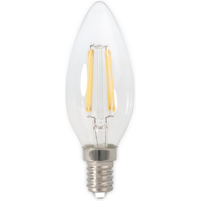 Calex LED Full Glass Filament Candle-lamp 240V 3,5W 350lm E14 B35,  Clear 2700K CRI80 Dimmable, energy label A++