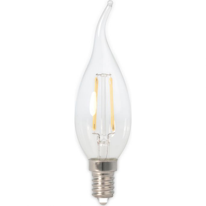 Calex LED Full Glass Filament Tip-Candle-lamp 240V 3,5W 350lm E14 BXS35, Clear 2700K CRI80 Dimmable, energy label A++