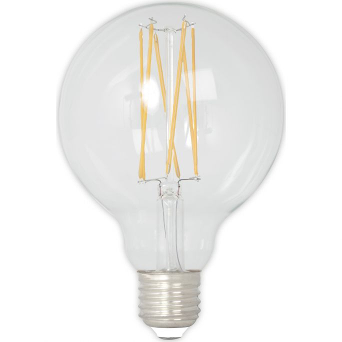 Calex LED Full Glass LongFilament Globe Lamp 240V 4W 350lm E27 GLB80, Clear 2300K Dimmable, energy label A+