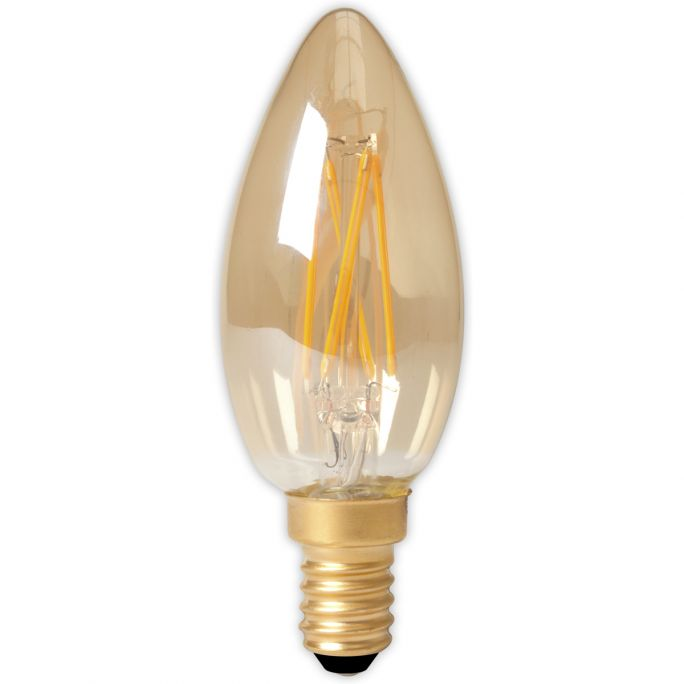 Calex LED Full Glass Filament Candle-lamp 240V 3,5W 200lm E14 B35, Gold 2100K CRI80 Dimmable, energy label A+
