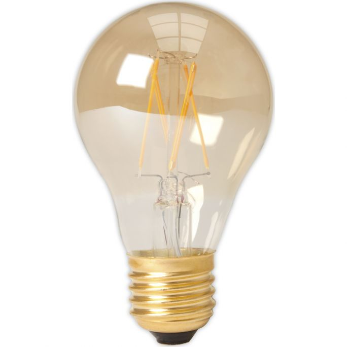 Calex LED Full Glass Filament GLS-lamp 240V 4W 310lm E27 A60, Gold 2100K CRI80 Dimmable, energy label A+