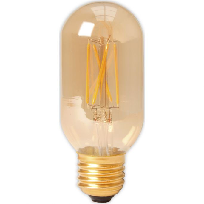 Calex LED Full Glass Filament Tubular-Type lamp 240V 4W 320lm E27 T45x110, Gold 2100K Dimmable, energy label A+