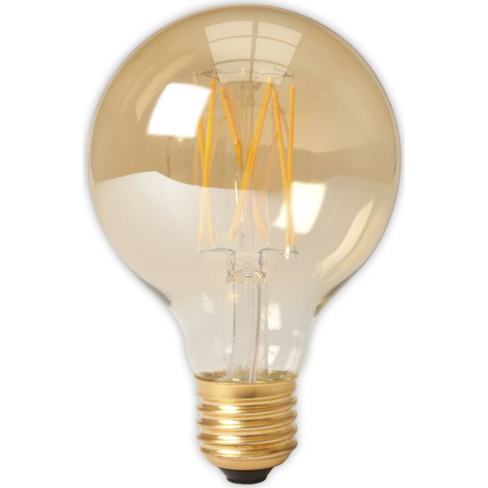 Calex LED Full Glass LongFilament Globe Lamp 240V 4W 320lm E27 GLB80, Gold 2100K Dimmable, energy label A+