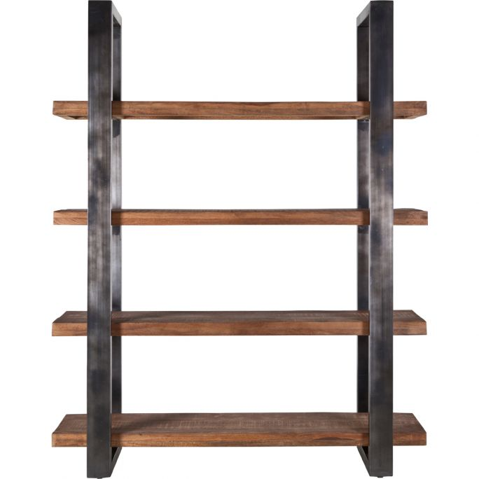Boekenkast Ohio 160 cm met metalen frame zwart
