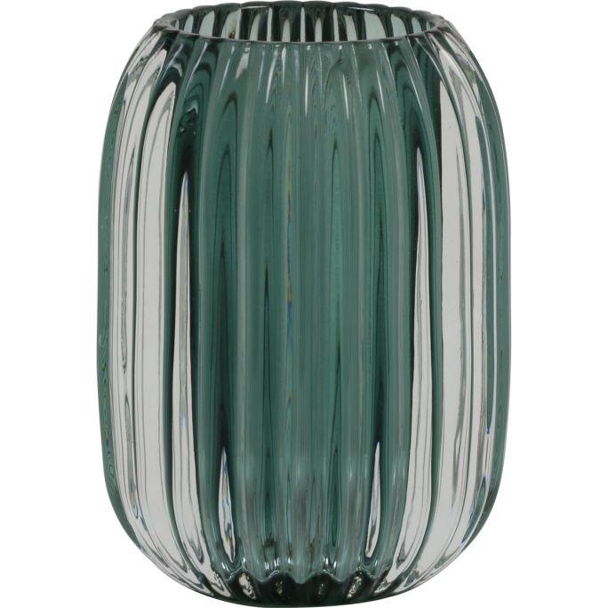 Theelicht 9,5x13 cm PERTU helder glas+donker groen