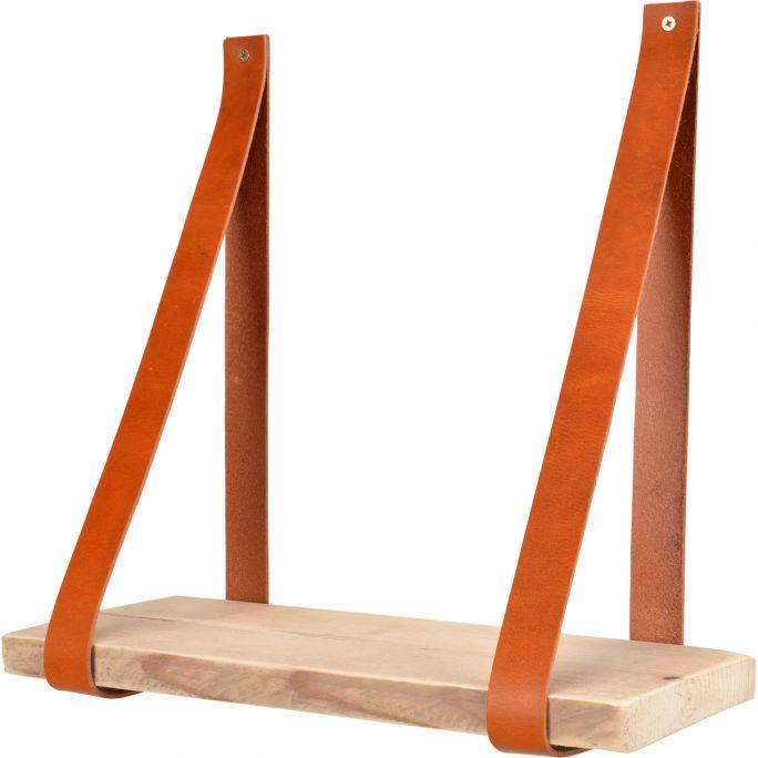 Leren plankdragers Yay inclusief plank cognac