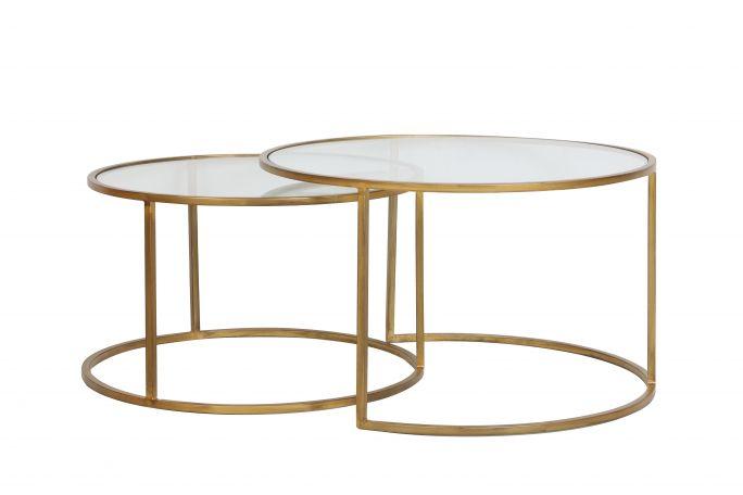 Salontafel Duarte goud set van 2 helder glas