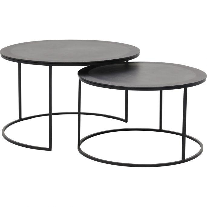 Salontafel set van 2 Veto, metaal zwart