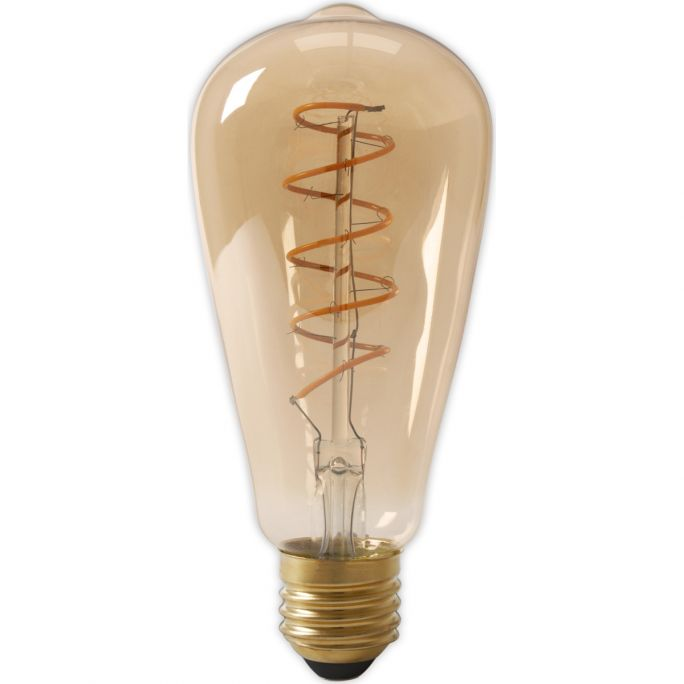 Calex LED Full Glass Flex Filament Rustik Lamp 240V 4W 200lm E27 ST64, Gold 2100K Dimmable, energy label A
