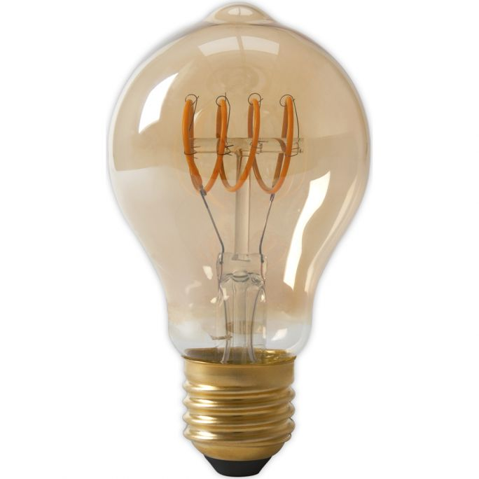Calex LED Full Glass Flex Filament GLS-lamp 240V 4W 200lm E27 A60DR, Gold 2100K Dimmable, energy label A