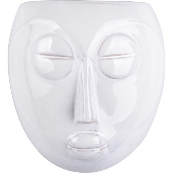 Wanddeco plantpot Mask wit