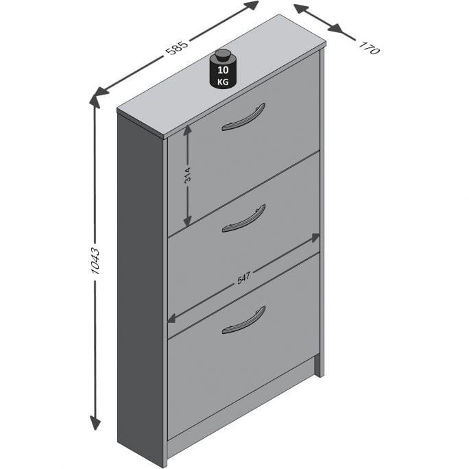 Schoenenkast Step Beton/Wit