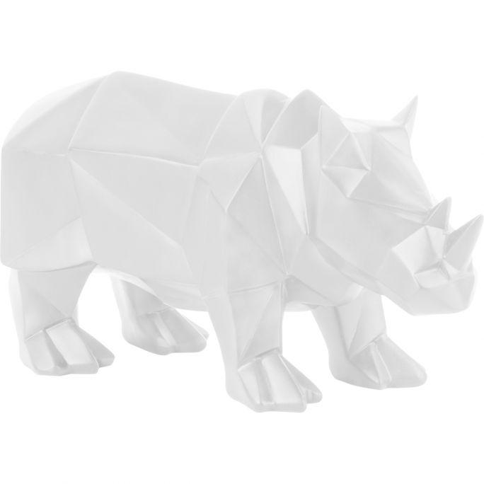 Decoratie Origami Neushoorn wit