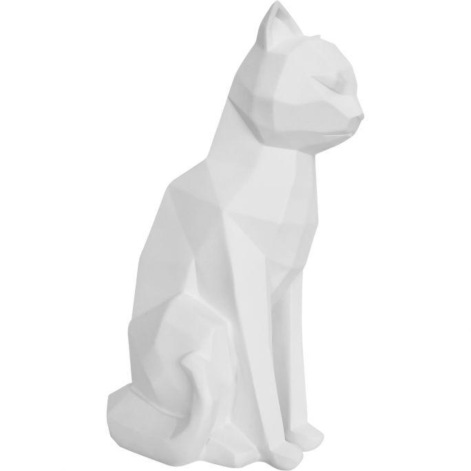 Decoratie Origami Kat zittend wit