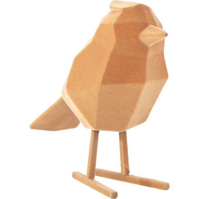 Decoratie Origami Vogel velvet bruin large