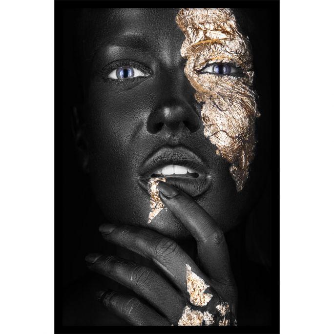 Wanddecoratie Noir Goldest 100x150cmmet zwarte baklijst