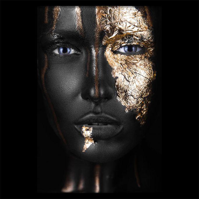 Wanddecoratie Noir Gold 120x120cmmet zwarte baklijst