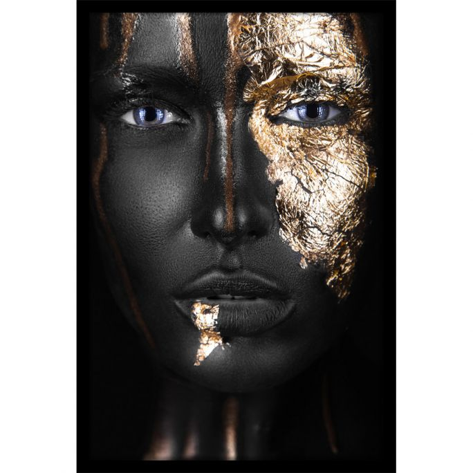 Wanddecoratie Noir Gold 90x135cmmet zwarte baklijst