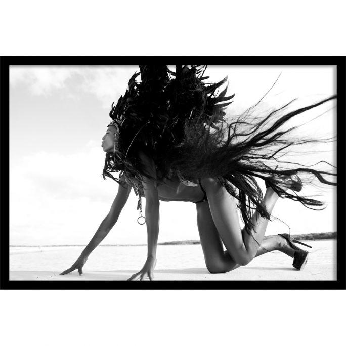 Wanddecoratie Black Swan 135x90cmmet zwarte baklijst