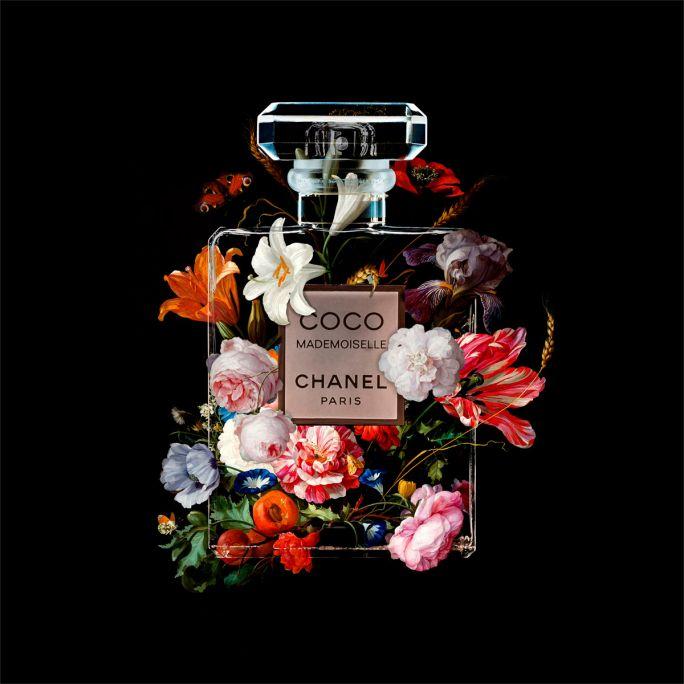 Wanddecoratie The Perfume Collection VI 100x100cmmet zwarte baklijst