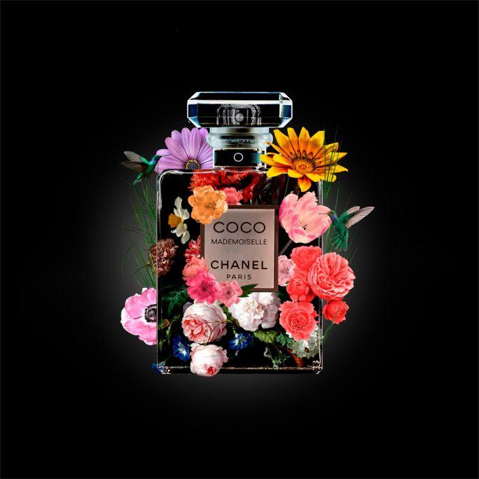 Wanddecoratie The Perfume Collection V 100x100cmmet zwarte baklijst