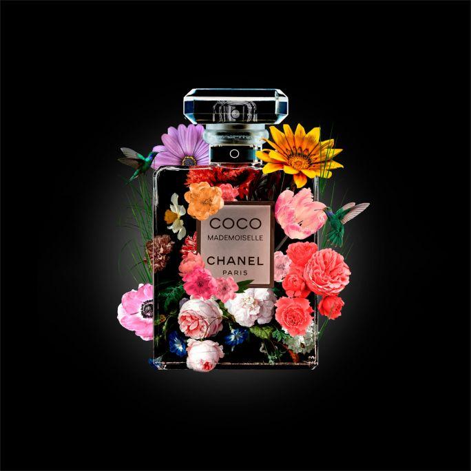 Wanddecoratie The Perfume Collection V 120x120cmmet zwarte baklijst