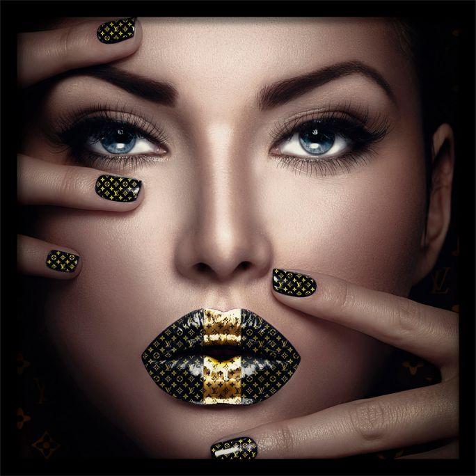 Wanddecoratie Fashion Lips II 100x100cmmet zwarte baklijst