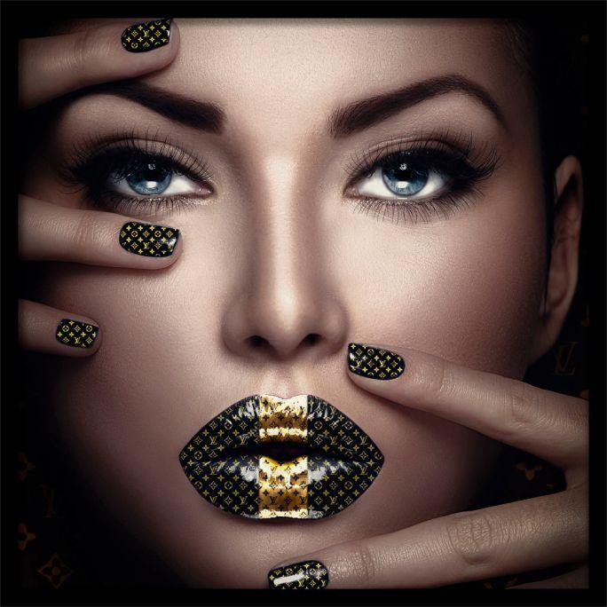 Wanddecoratie Fashion Lips II 120x120cmmet zwarte baklijst