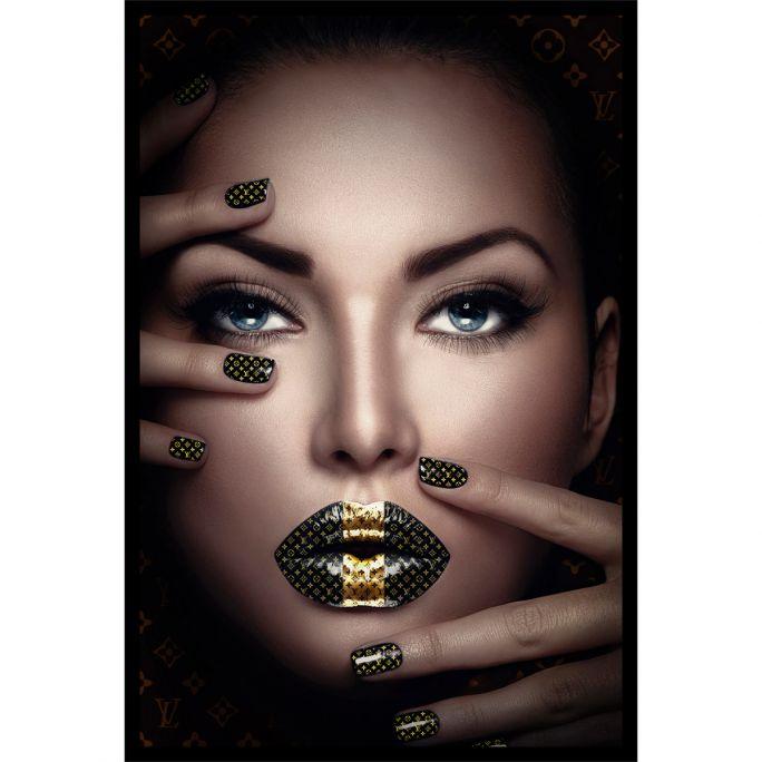 Wanddecoratie Fashion Lips II 120x180cmmet zwarte baklijst