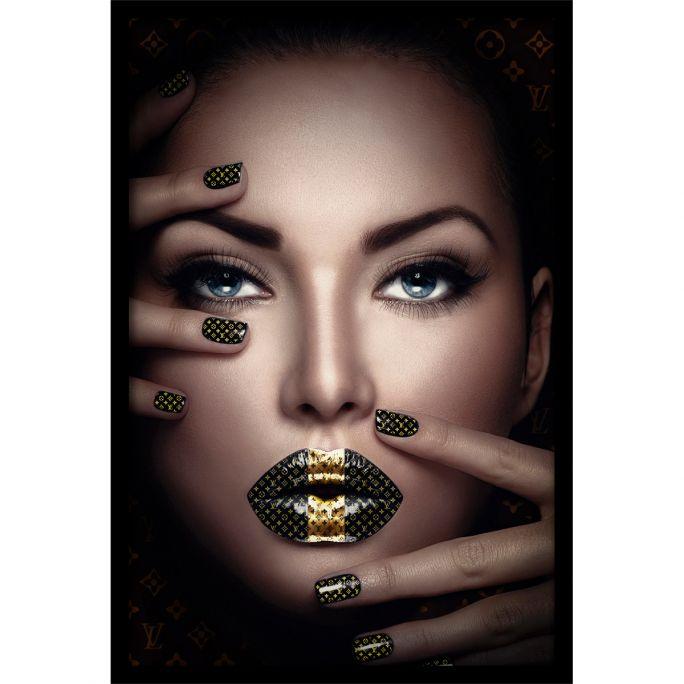 Wanddecoratie Fashion Lips II 90x135cmmet zwarte baklijst