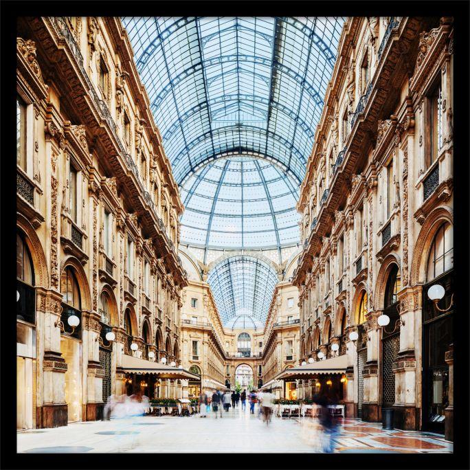 Wanddecoratie Galleria Vittorio Emanuele Milano 100x100cmmet zwarte baklijst