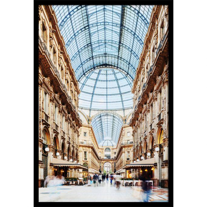 Wanddecoratie Galleria Vittorio Emanuele Milano 100x150cmmet zwarte baklijst