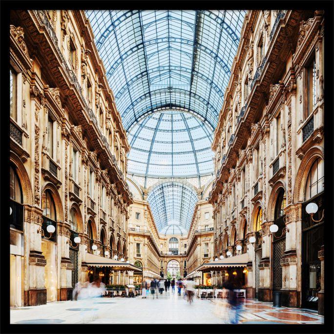 Wanddecoratie Galleria Vittorio Emanuele Milano 120x120cmmet zwarte baklijst