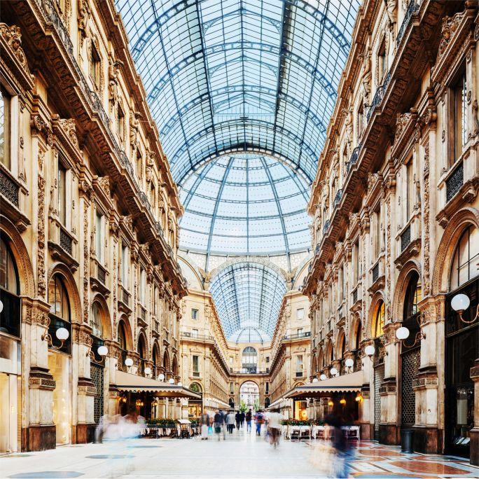 Wanddecoratie Galleria Vittorio Emanuele Milano 120x120cm