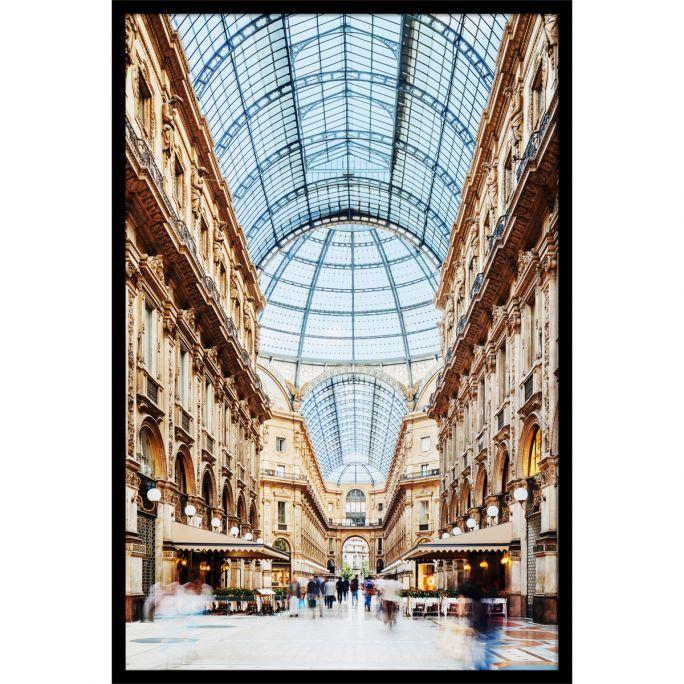 Wanddecoratie Galleria Vittorio Emanuele Milano 120x180cmmet zwarte baklijst